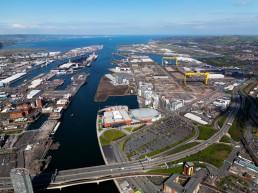 Daytime harbour and docklands Belfast