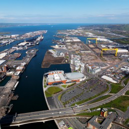 Daytime harbour and docklands Belfast