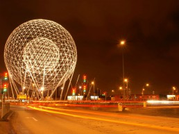 Rise Sculpture at broadway roundabout in Belfast, a huge white sphere within a sphere