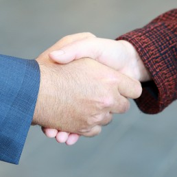 Close up of a man and woman shaking hands