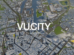 Screen shot of VuCity software, stylised ariel view of Belfast
