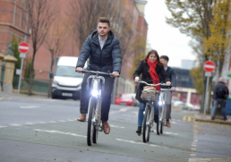 People cycling using Belfast's public bike hire scheme, Belfast Bikes.