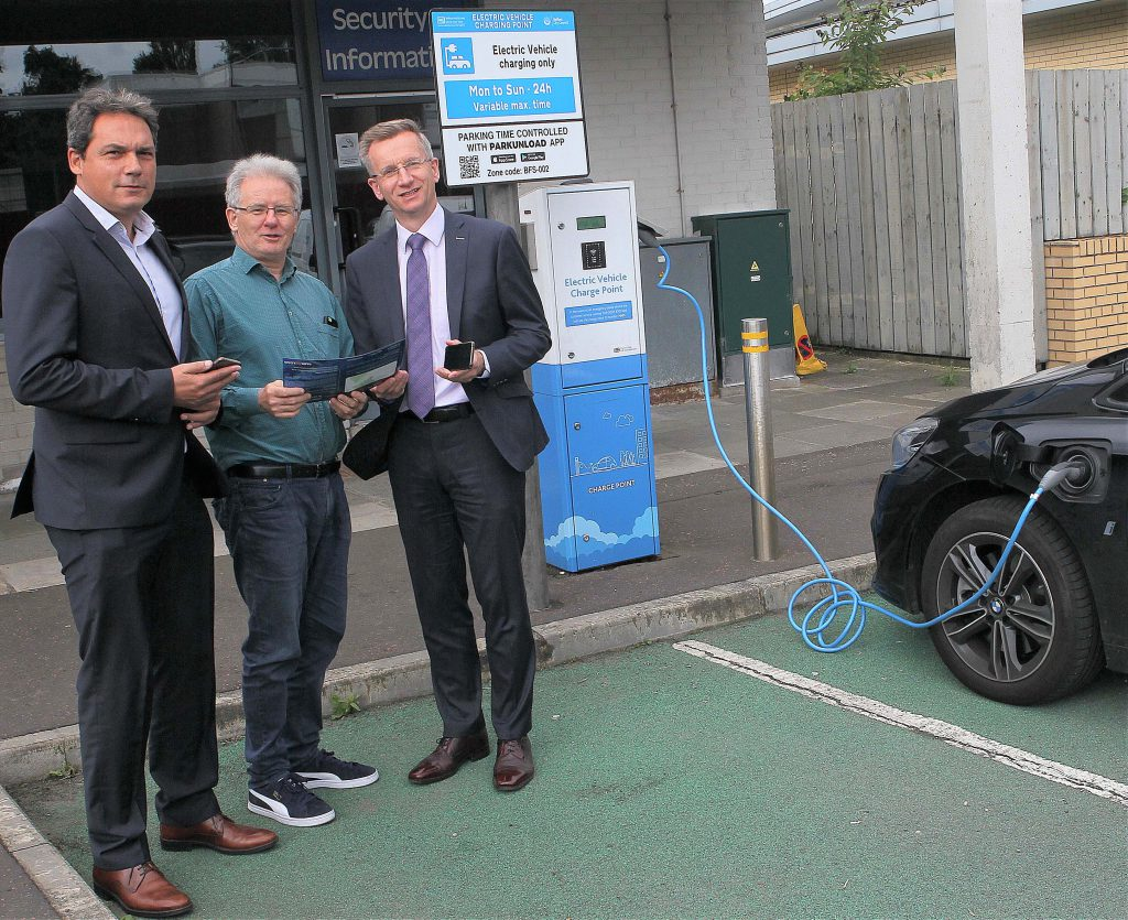 Electric vehicle charging point at Musgrave Park Hospital